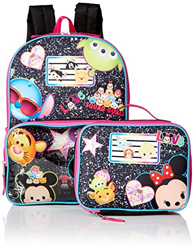 Disney Girls' Tsum Notes 15.5 inch Backpack Lunch Set
