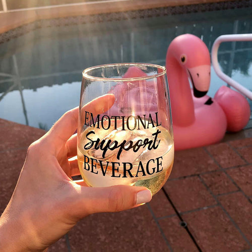 Emotional Support Beverage 17 oz Wine Glass Cup