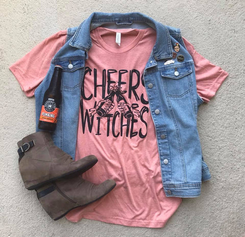 Cheers Witches Halloween Heather SUNSET Unisex Womens Adult Tee Drink Holiday