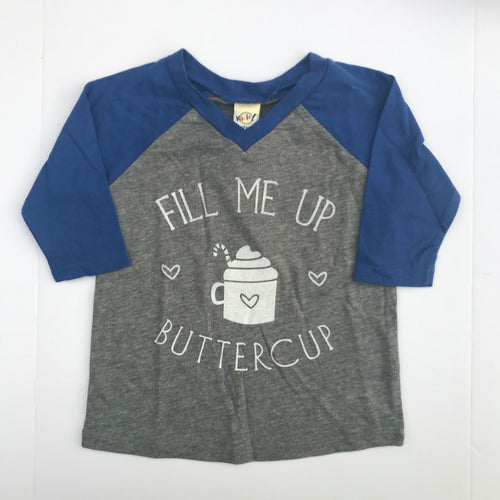 SALE Fill Me Up Buttercup INFANT Vneck Blue Raglan Holiday