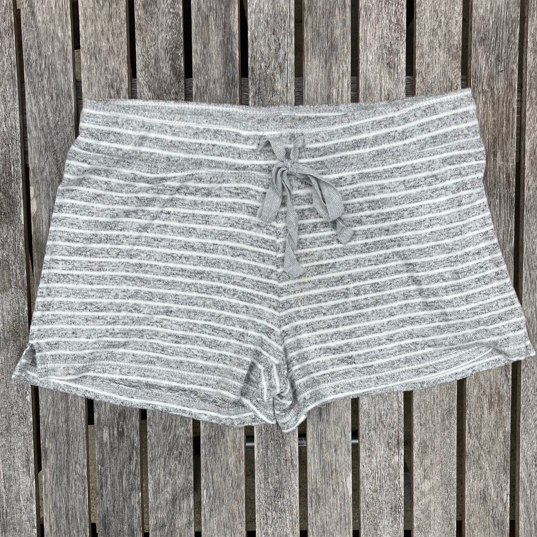 Grey and White Striped Shorts