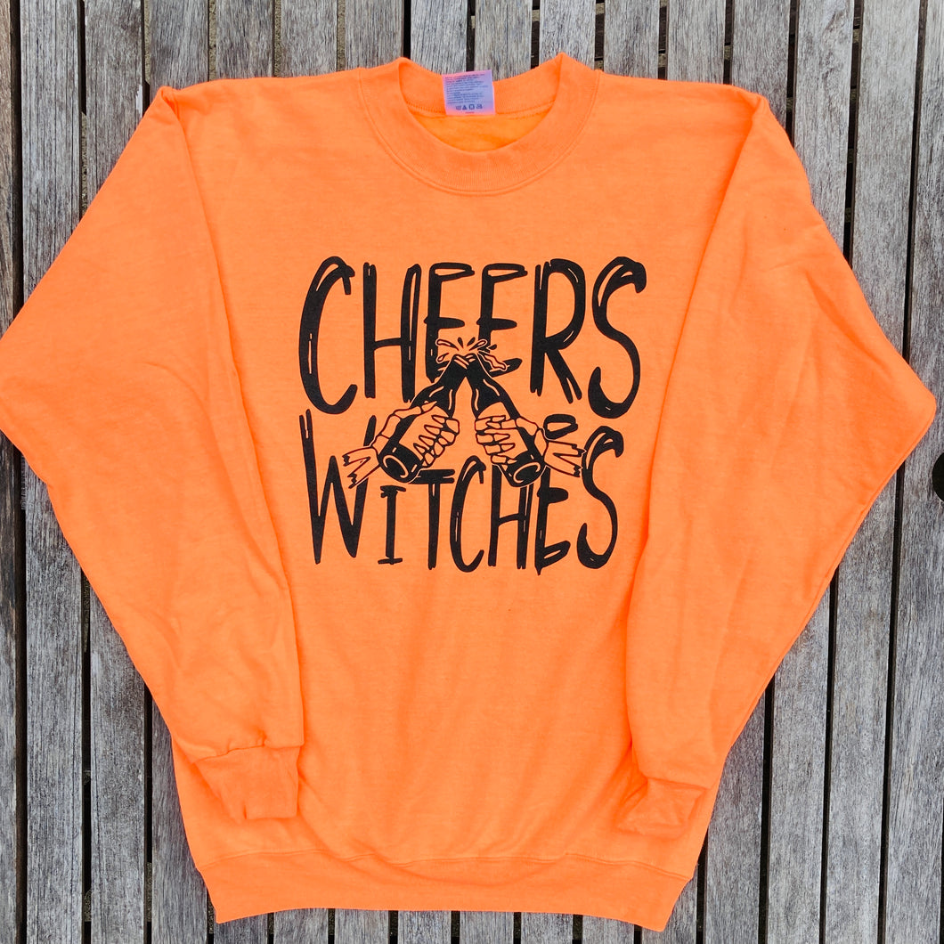 Cheers Witches Neon Orange Sweatshirt Women