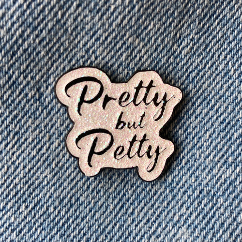 Pretty but Petty White Glitter Enamel Lapel Pin Accessories