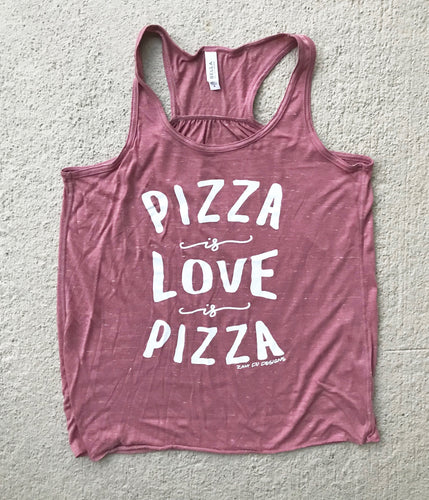 SALE Pizza is Love is Pizza Mauve Women's Racerback Tank