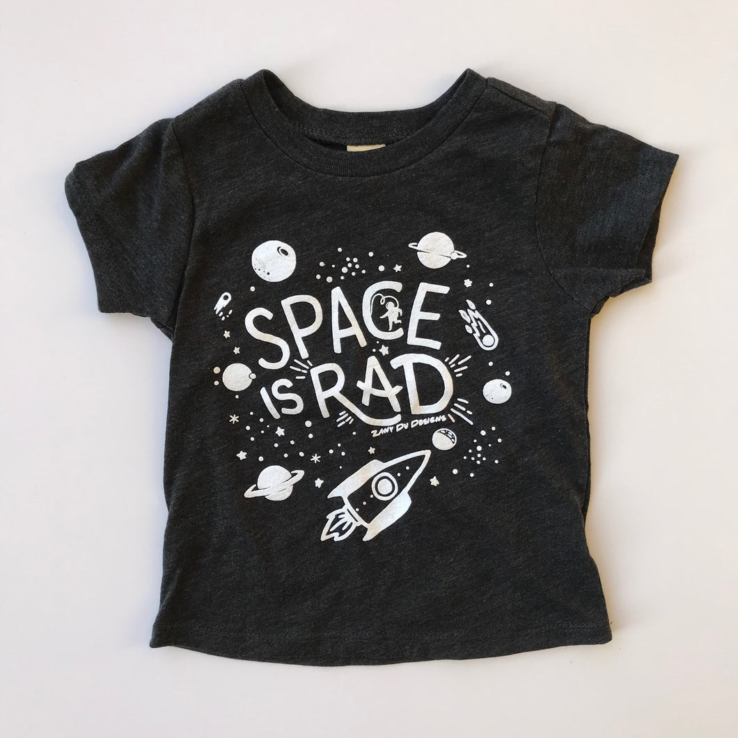 Space Is Rad GLOW IN THE DARK INFANT Charcoal Grey Tee