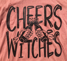 Cheers Witches Halloween Heather SUNSET Unisex Womens Adult Tee