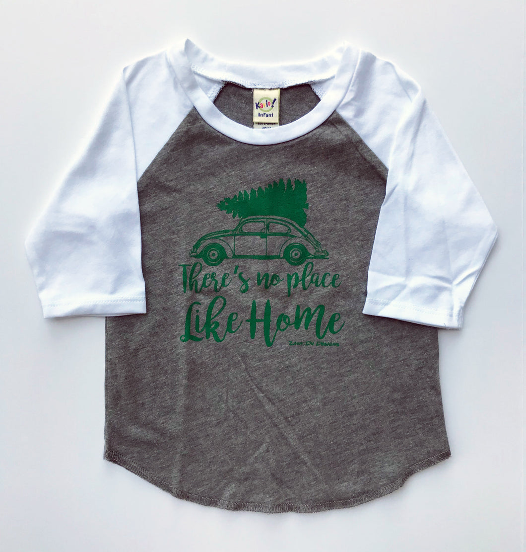 There's No Place Like Home Christmas Tree INFANT Grey White Raglan