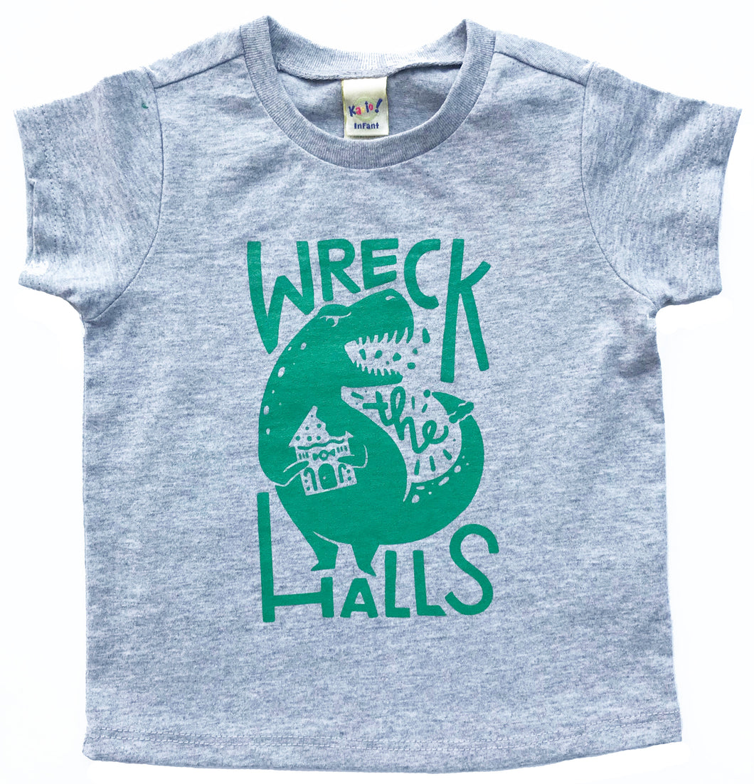 Wreck the Halls Dinosaur Christmas Holiday TODDLER Tee