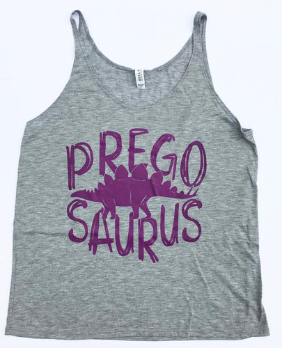 Pregosaurus Mama Dino Grey Flowy Tank Top Womens Mom