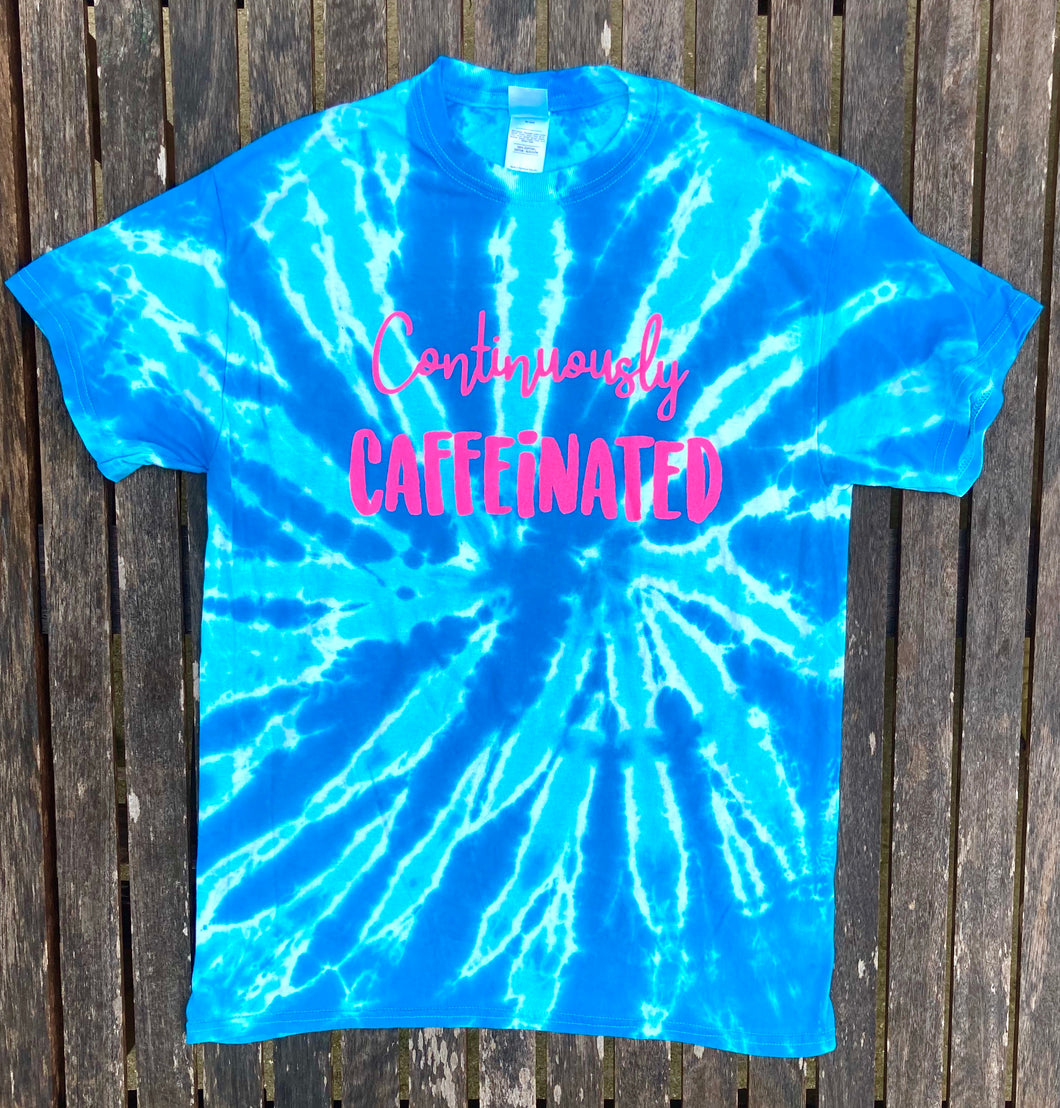Continuously Caffeinated Blue Tie Dye Women Tee