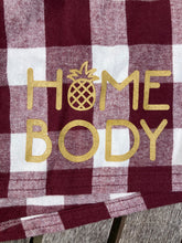 Home Body Pineapple Maroon and White Buffalo Plaid Flannel Shorts