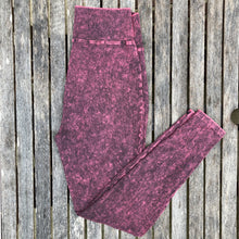 Burgundy Acid Wash Leggings