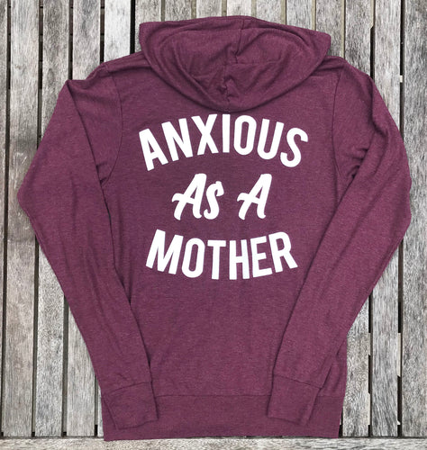 Anxious As a Mother Heather Maroon ZIP UP Sweatshirt Women Tee New Mom