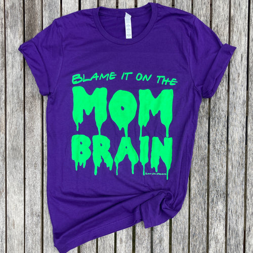 Mom Brain Slime Purple & Neon Green Tee New