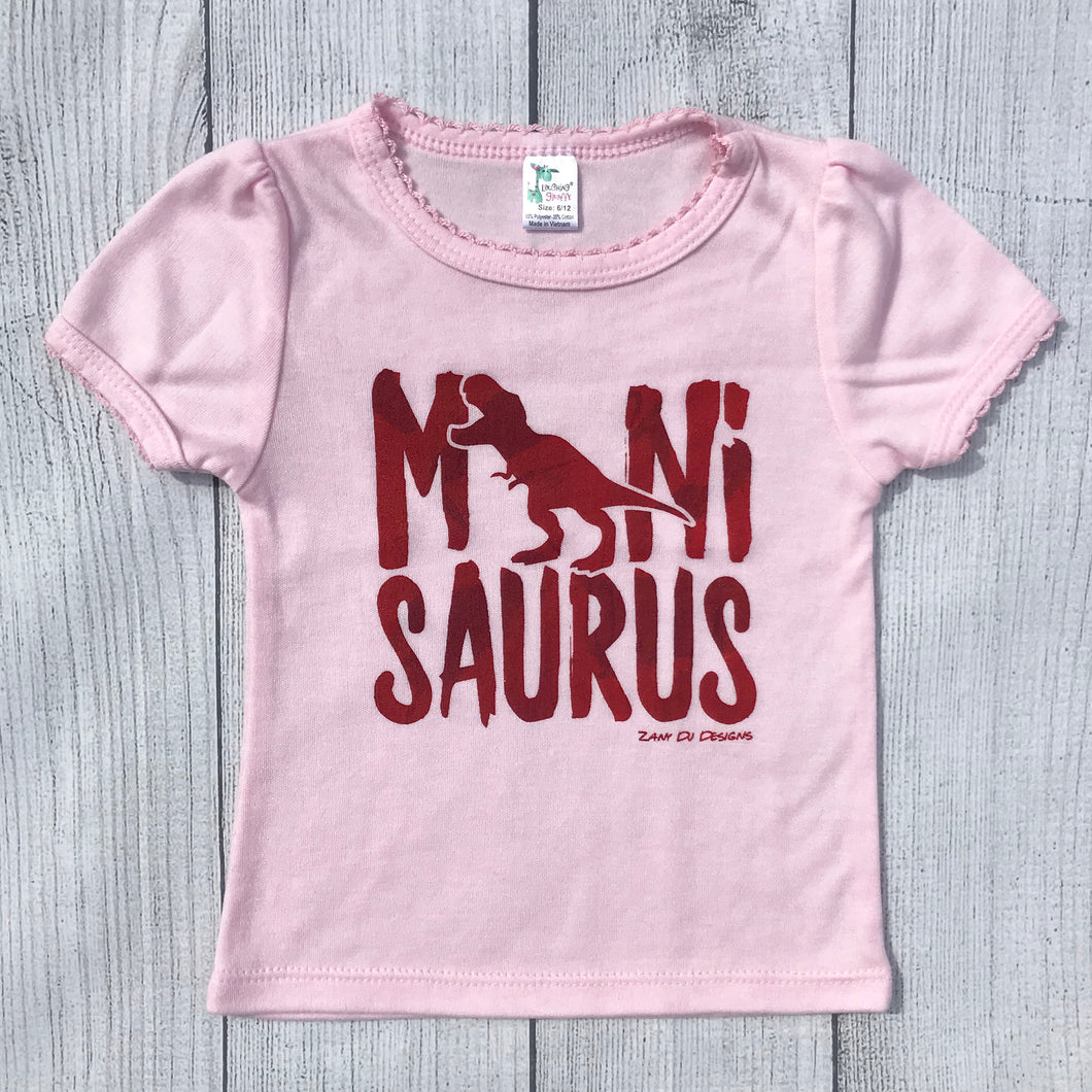 Minisaurus Pink Girly INFANT Tee Cap Scallop Sleeves