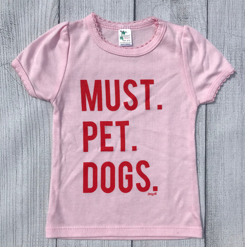 Must Pet Dogs Pink Girly INFANT Tee Cap Scallop Sleeves