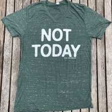 Not Today Green V-neck Tee Womens New