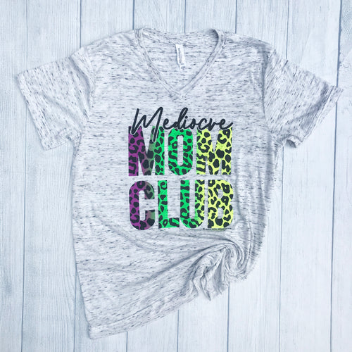Mediocre Mom Club NEON CHEETAH  Tee Mom