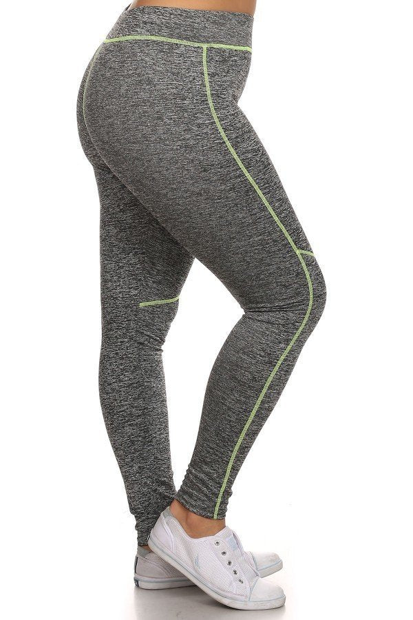 Heather Grey and Lime Green PLUS SIZE Workout Leggings New