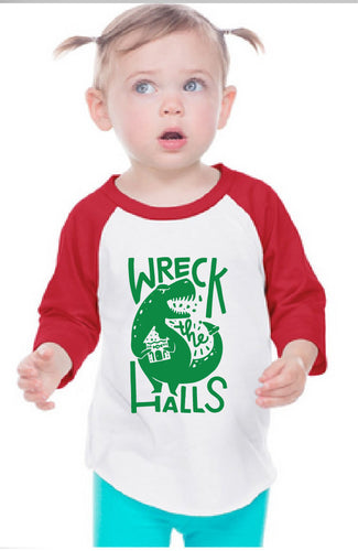 Family Dino Christmas INFANT Baseball Tee Wreck the Halls