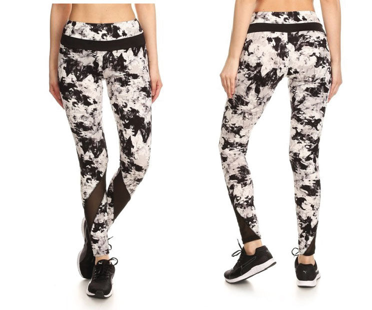 White and Black Vent Workout Leggings New