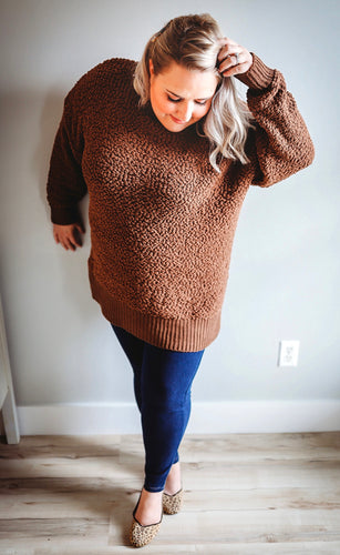 Brown Fuzzy Oversized Sweater