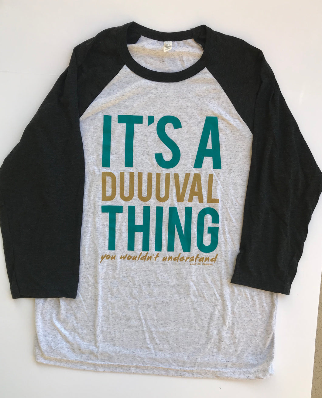 It's A Duuuval Thing Duval Florida Teal Football Unisex Raglan Baseball Tee