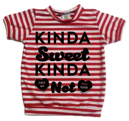 Kinda Sweet Kinda Not Valentine Red White Stripe Tee LK Clothing Collab infant toddler