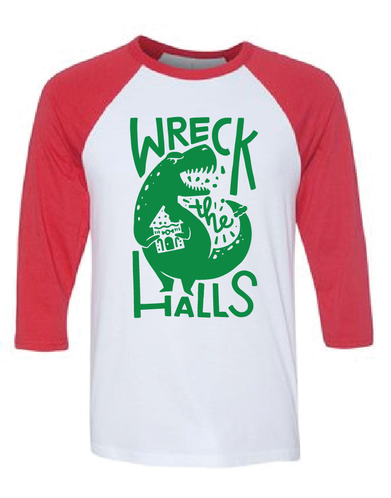 Family Dino Christmas ADULT Baseball Tee Wreck the Halls Merry Rexmas