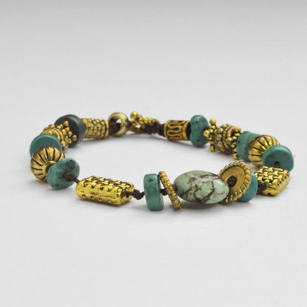 Turquoise & Gold-plated Brass Bracelet - Maison Fusion