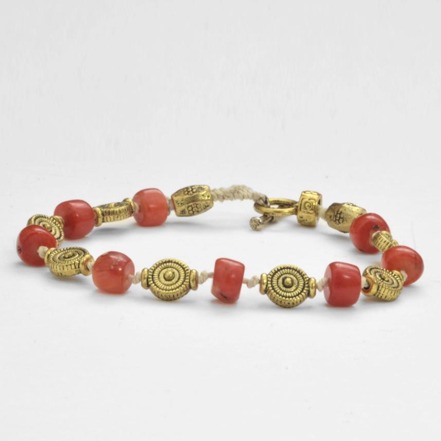Coral & Gold-plated Brass Bracelet - Maison Fusion