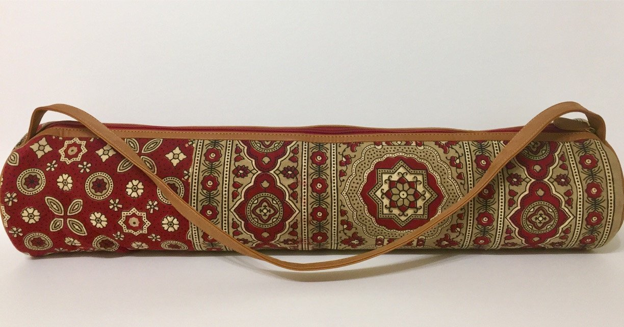 Yoga Mat Bag with Large Inside Pocket Hand Block Printed Cotton Beige & Red