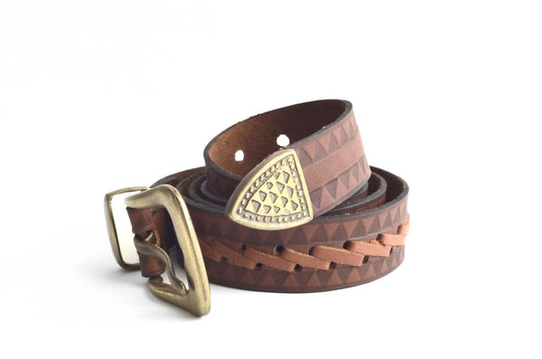 Braided Belt tan and light brown color - Maison Fusion