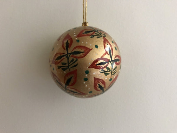 Christmas Gold Folk Leaf Ball - Maison Fusion
