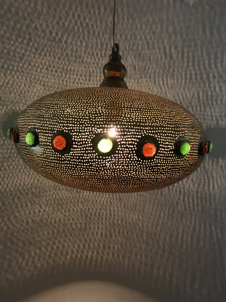 Filigree Suspended Lights Saucer Oriental Shape with Inlaid Coloured Glass - Maison Fusion