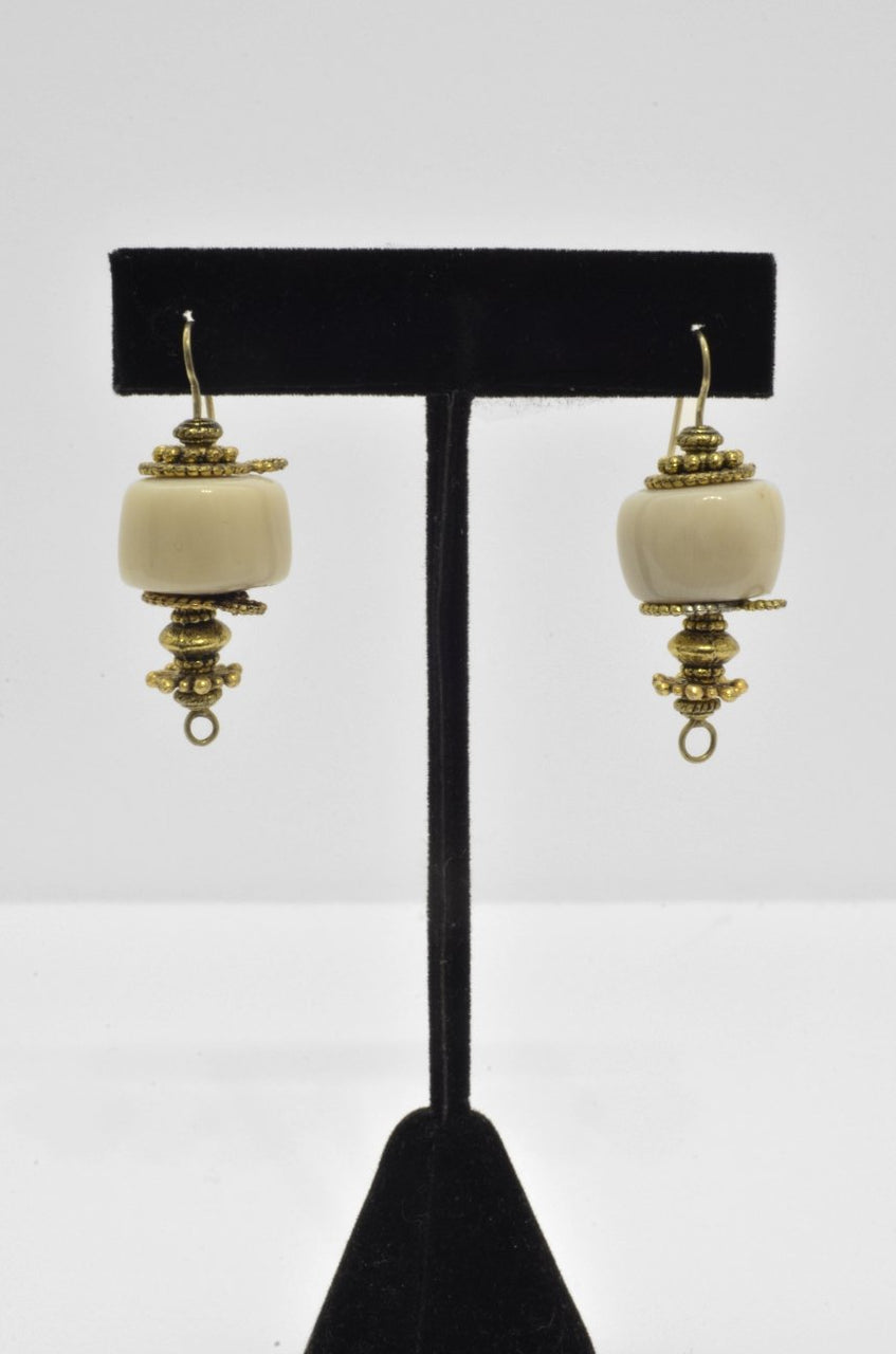 Beige Coral & Gold-plated Silver Earrings - Maison Fusion