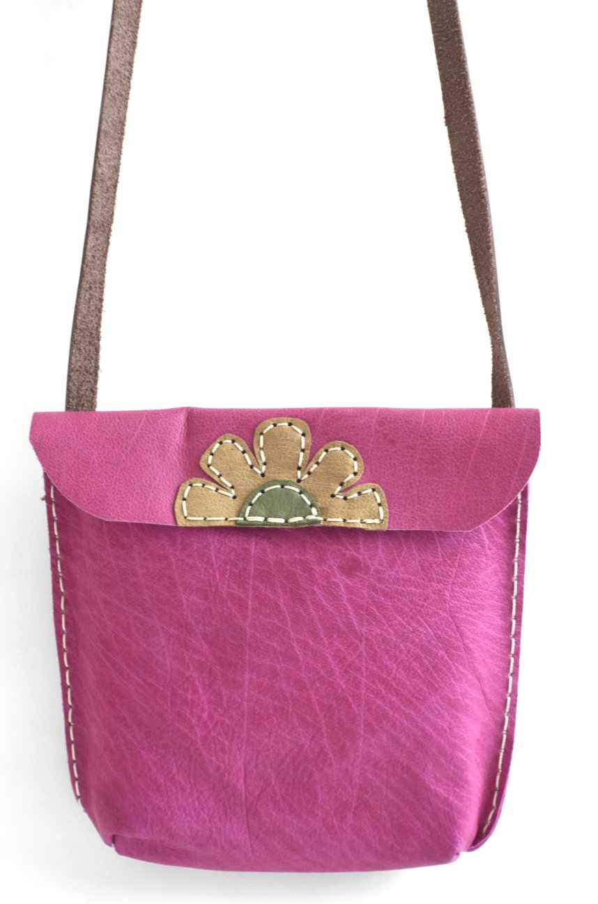 Artisanal Genuine Leather Messenger Bag Fuchsia - Maison Fusion