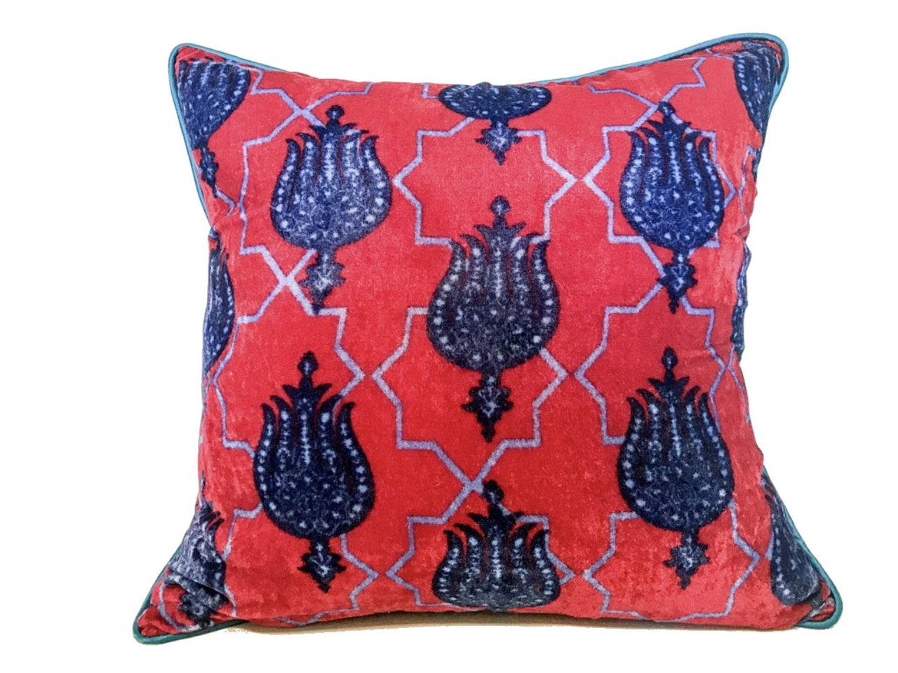 Velvet Cushion 20x20 Closed Blue Lotus Flower on Red Background - Maison Fusion