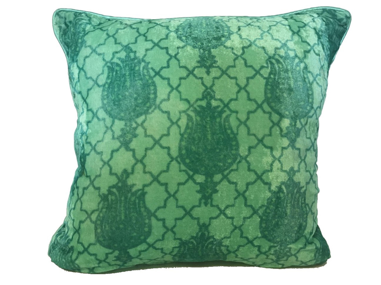Velvet Cushion 20x20 Closed Dark Green Lotus Flower on Green Background - Maison Fusion