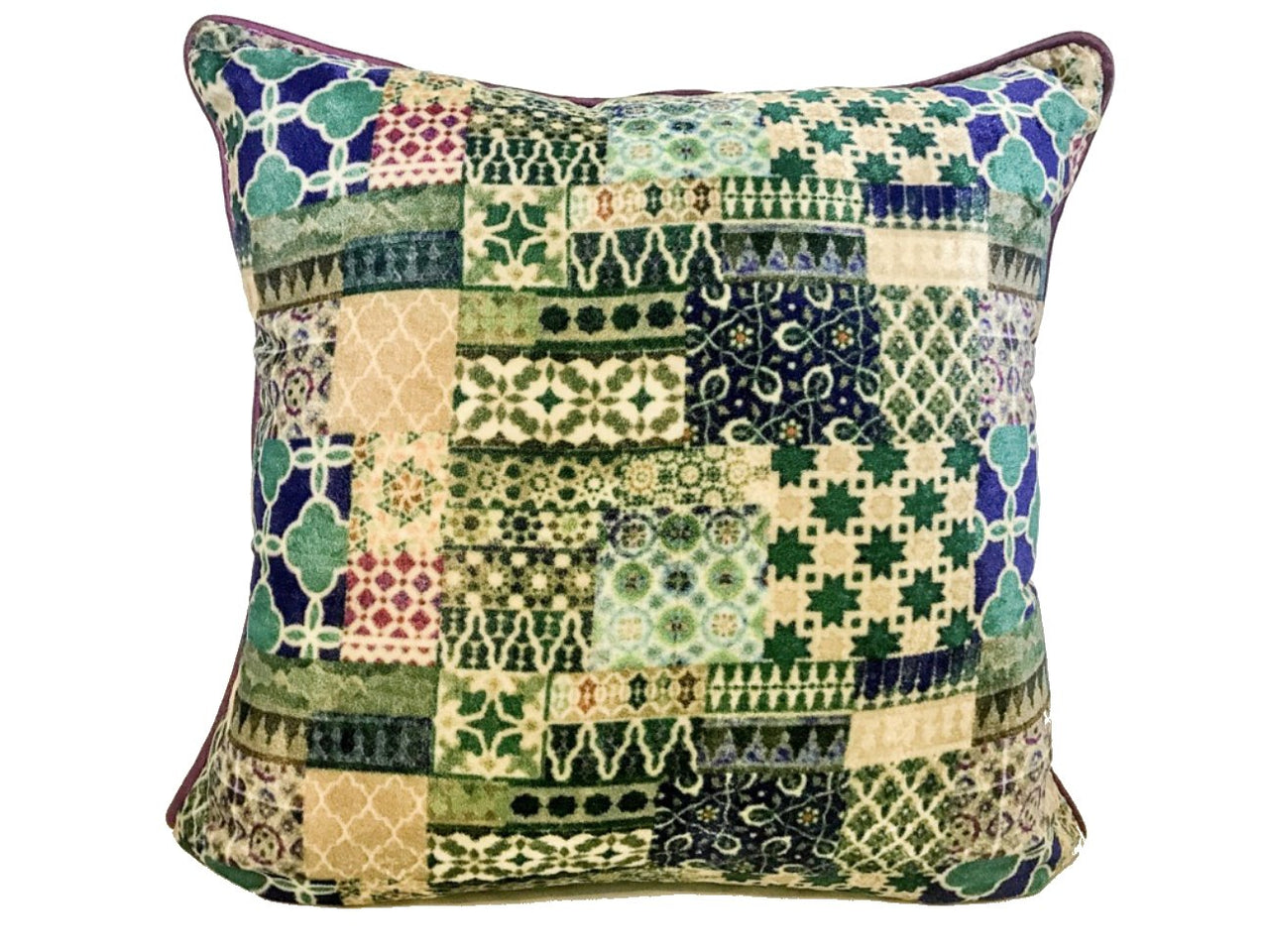 Velvet Cushion 20x20 Geometric design multicolour blue beige green - Maison Fusion