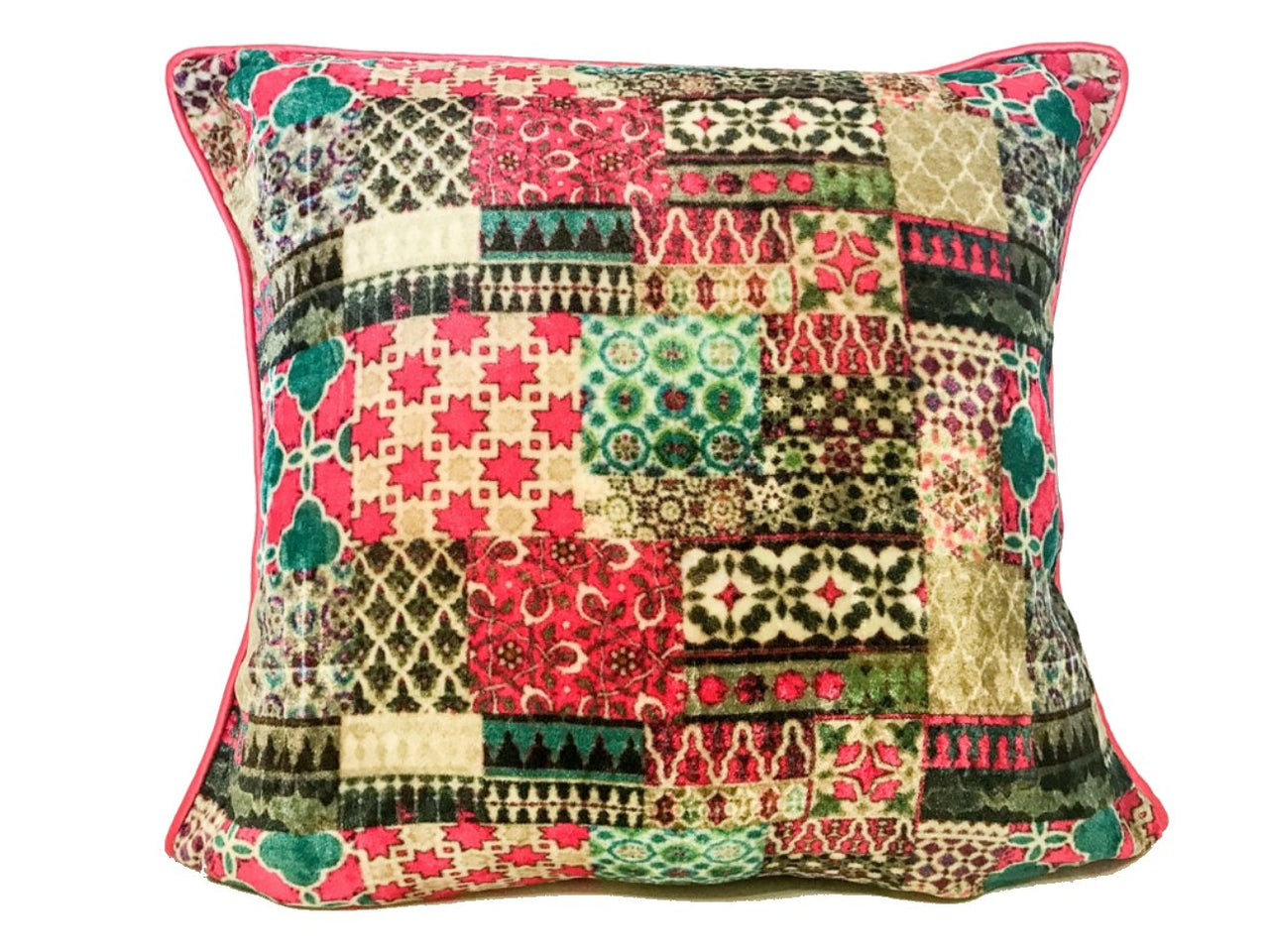 Velvet Cushion 20x20 Geometric design multicolour red beige brown - Maison Fusion
