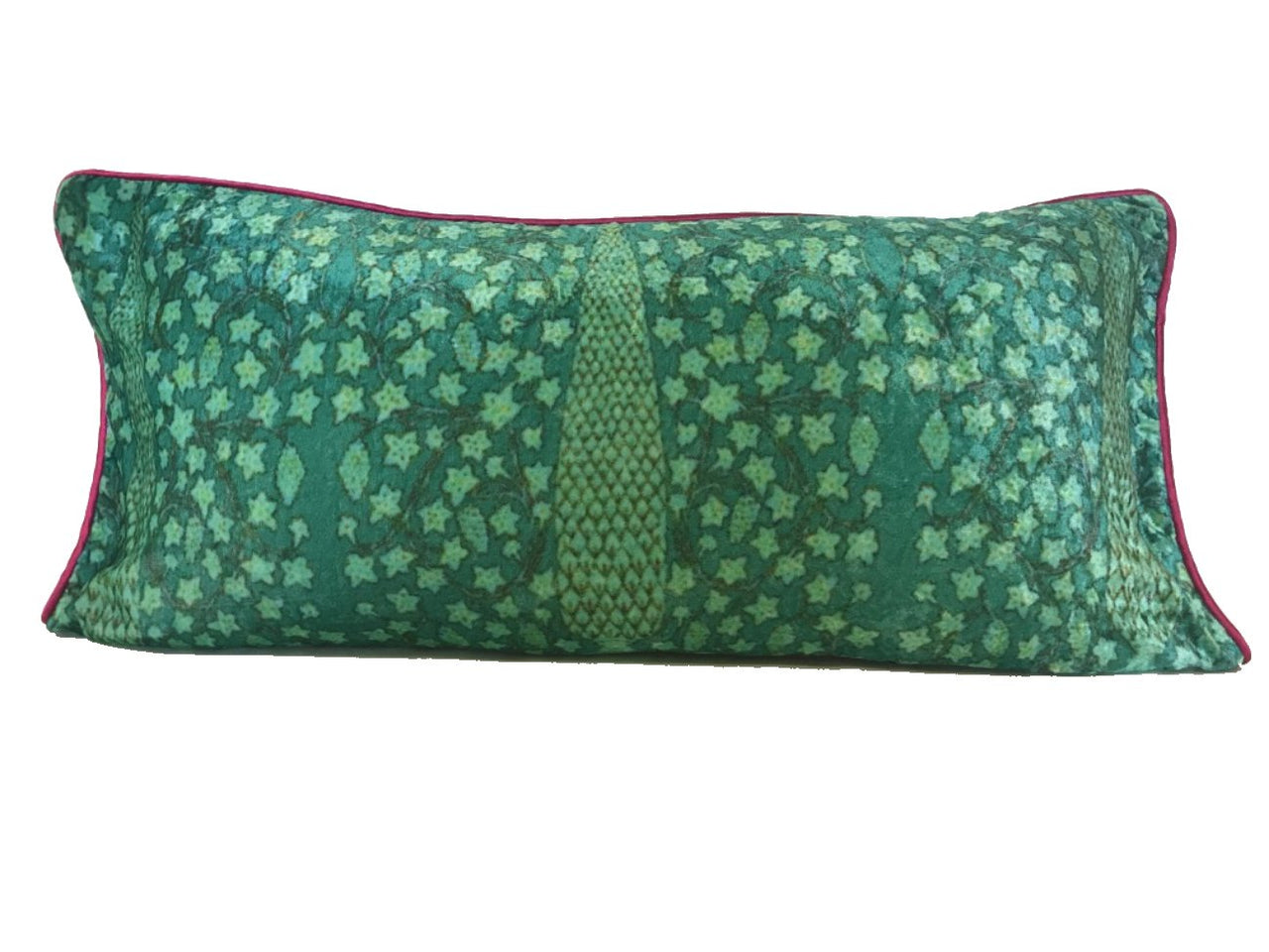 Velvet Cushion 14x28 Green Cypress on turquoise background - Maison Fusion