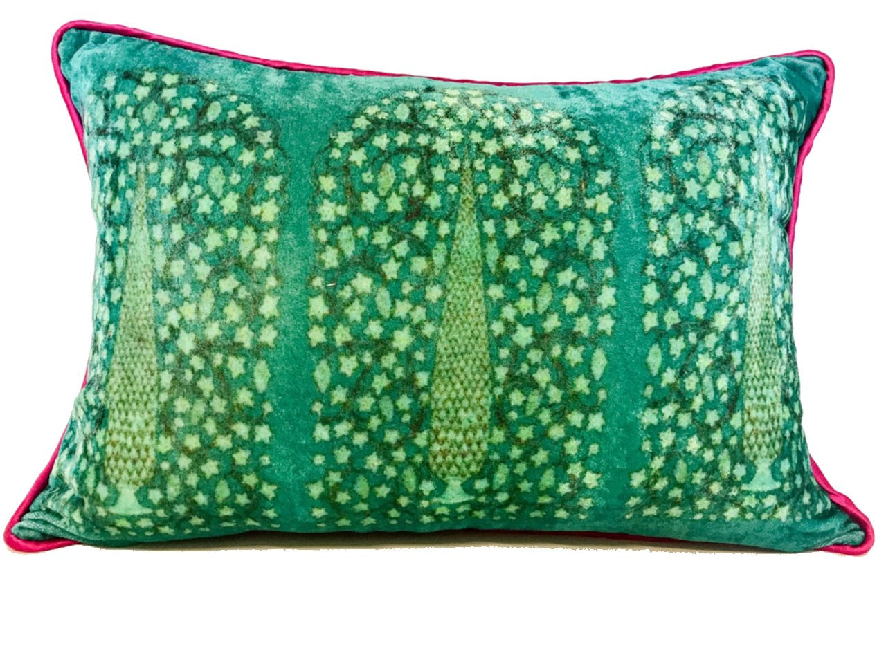 Velvet Cushion 12x18 Gree Cypress on Turquoise background - Maison Fusion