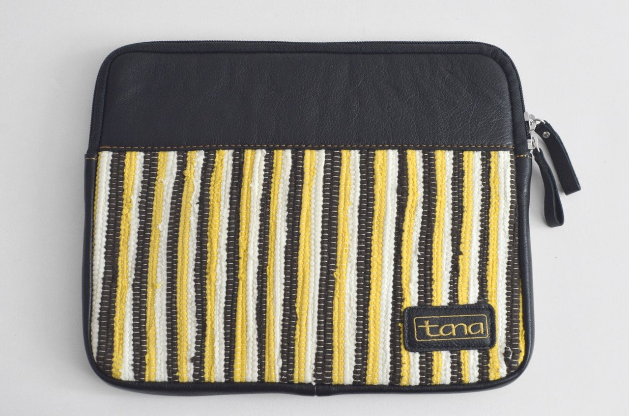 Recycled Fabric and leather IPad Case - Maison Fusion