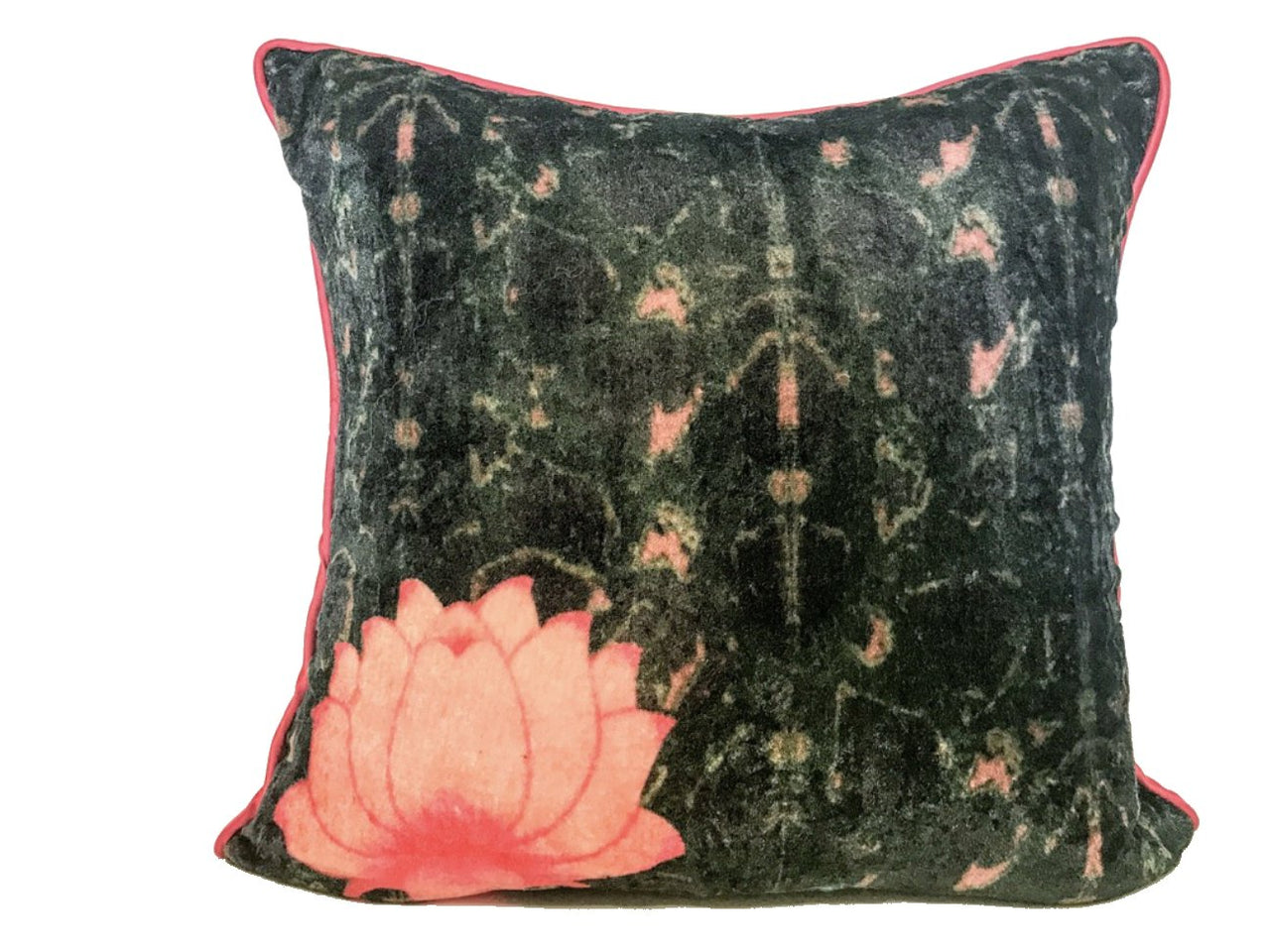 Velvet Cushion 20x20 Lotus Flower on Dark Background - Maison Fusion