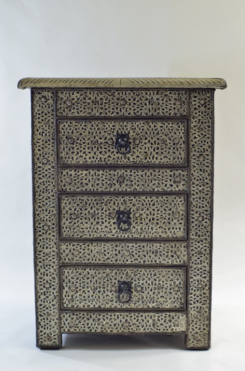 Moroccan chiseled metal cabinet small with three drawers - Maison Fusion