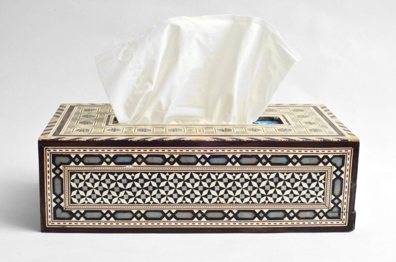 Inlaid mother of pearl tissue paper box