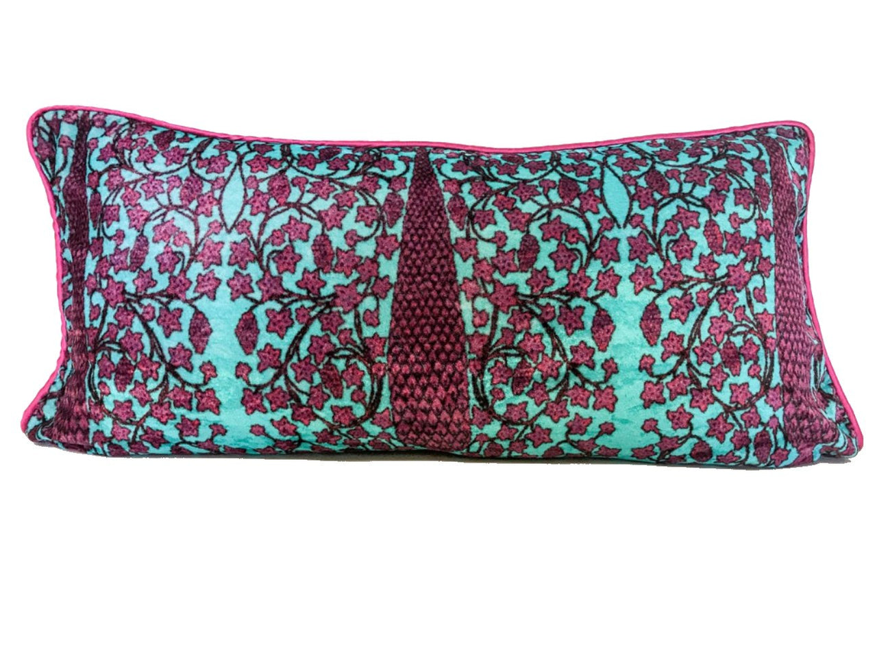 Velvet Cushion 14x28 Burgundy Cypress on turquoise background - Maison Fusion