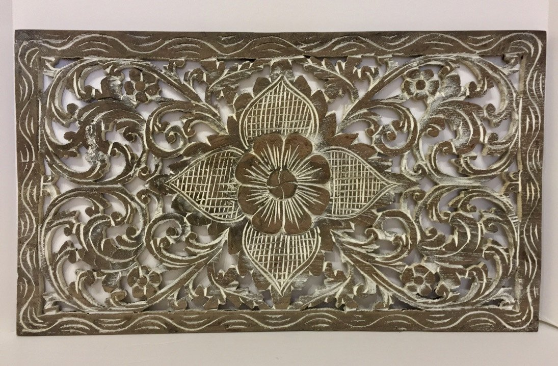 Hand carved Rectangular Shape Wooden Panels Thailand - Maison Fusion
