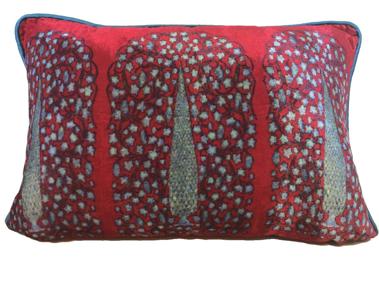 Velvet Cushion 12x18 Blue Cypress on red background - Maison Fusion